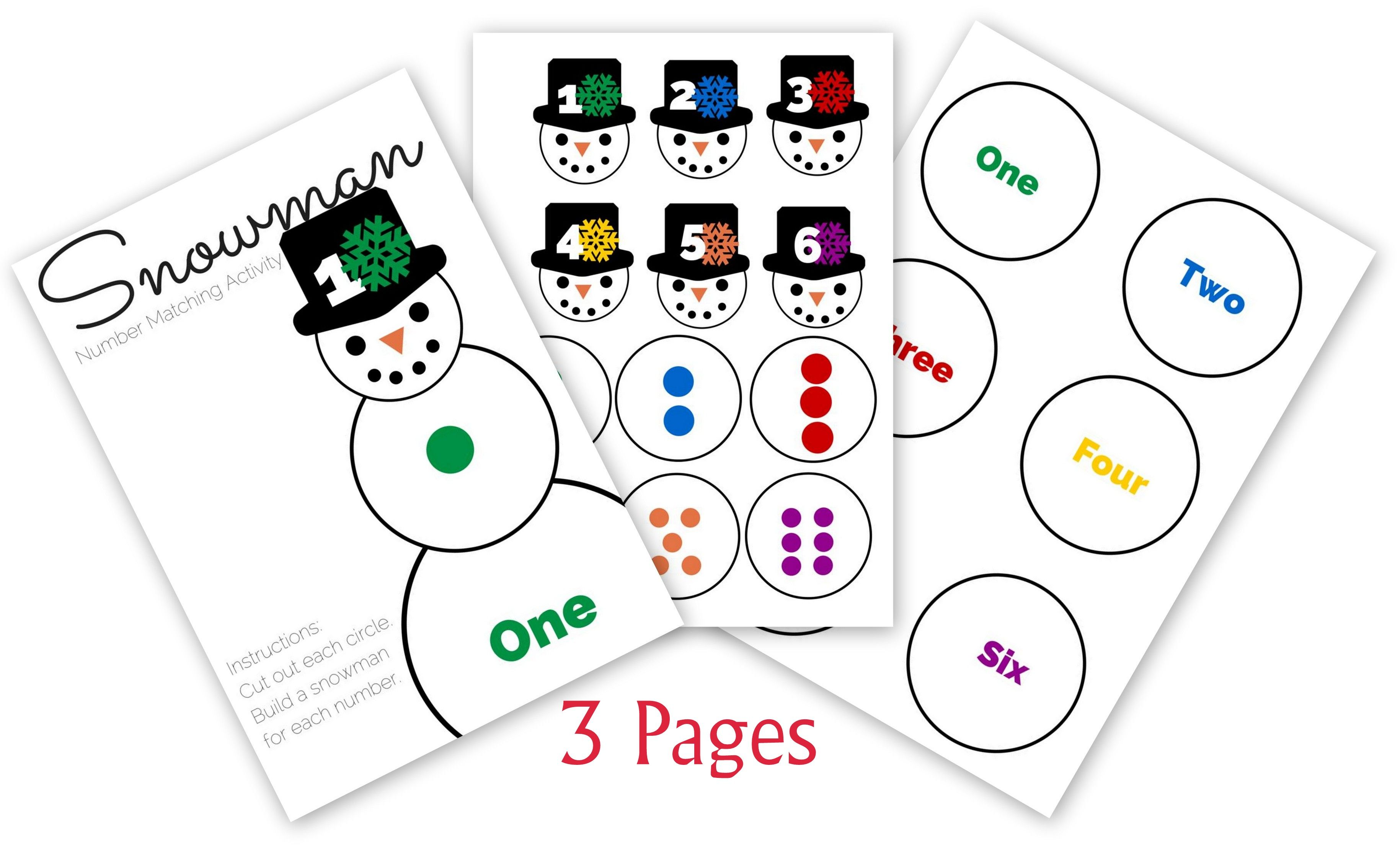 Free Printable Build A Snowman Number Matching Activity