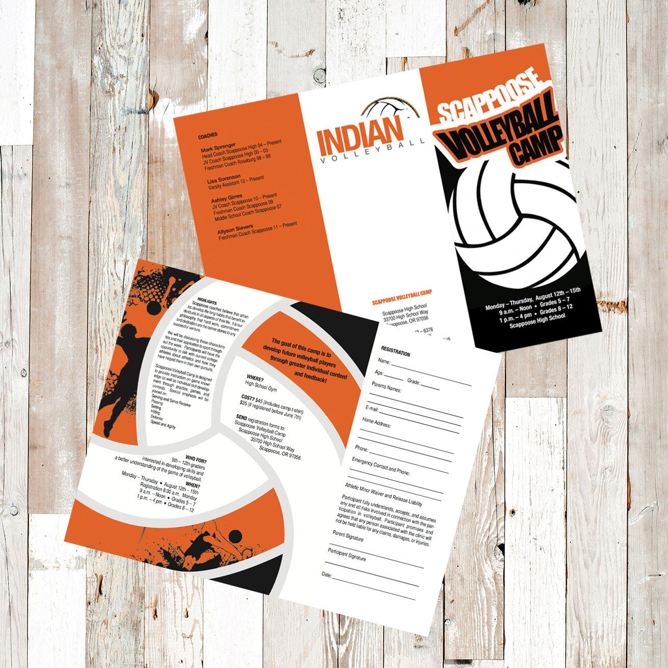 A Personal Favorite From My Etsy Shop Https Www Etsy Com Listing 503295177 Volleyball Camp Brochure Brochure Design Brochure Volleyball Camp