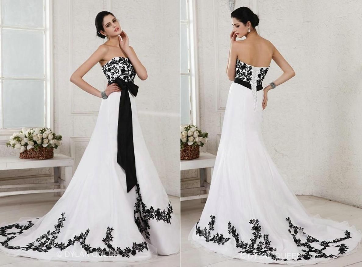 Black and white lace applique wedding dresses a line