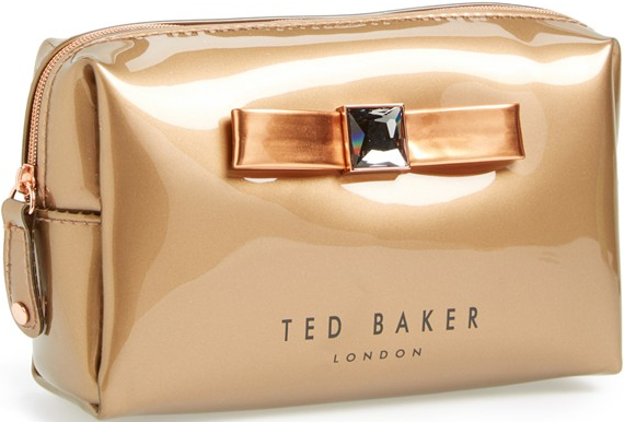 Ted Baker London Rose Gold Metallic Bow Cosmetics Case