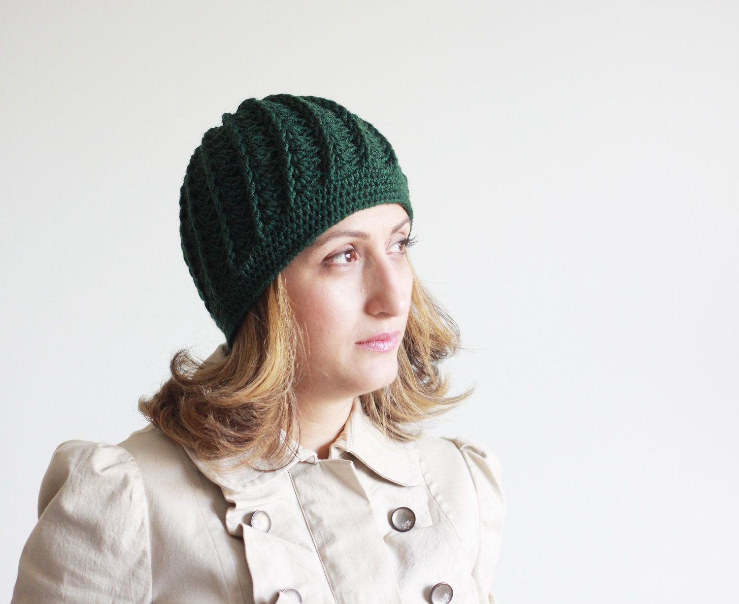 Winter Crochet Hat for Women - Green fashion Crochet, Adult Beanie ...