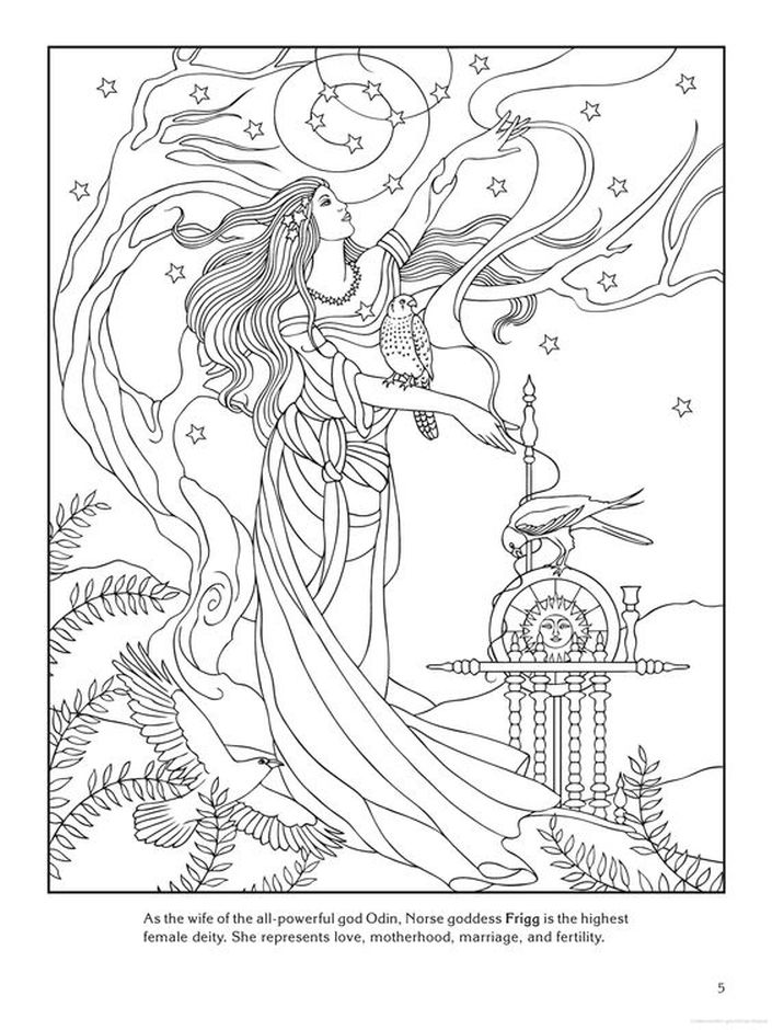 frigg norse love goddess difficult coloring pages for grown ups - Difficult Coloring Pages