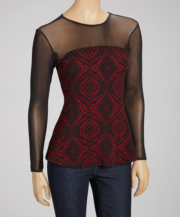 Take a look at this Black & Red Diamond Mesh Peplum Top on zulily today!