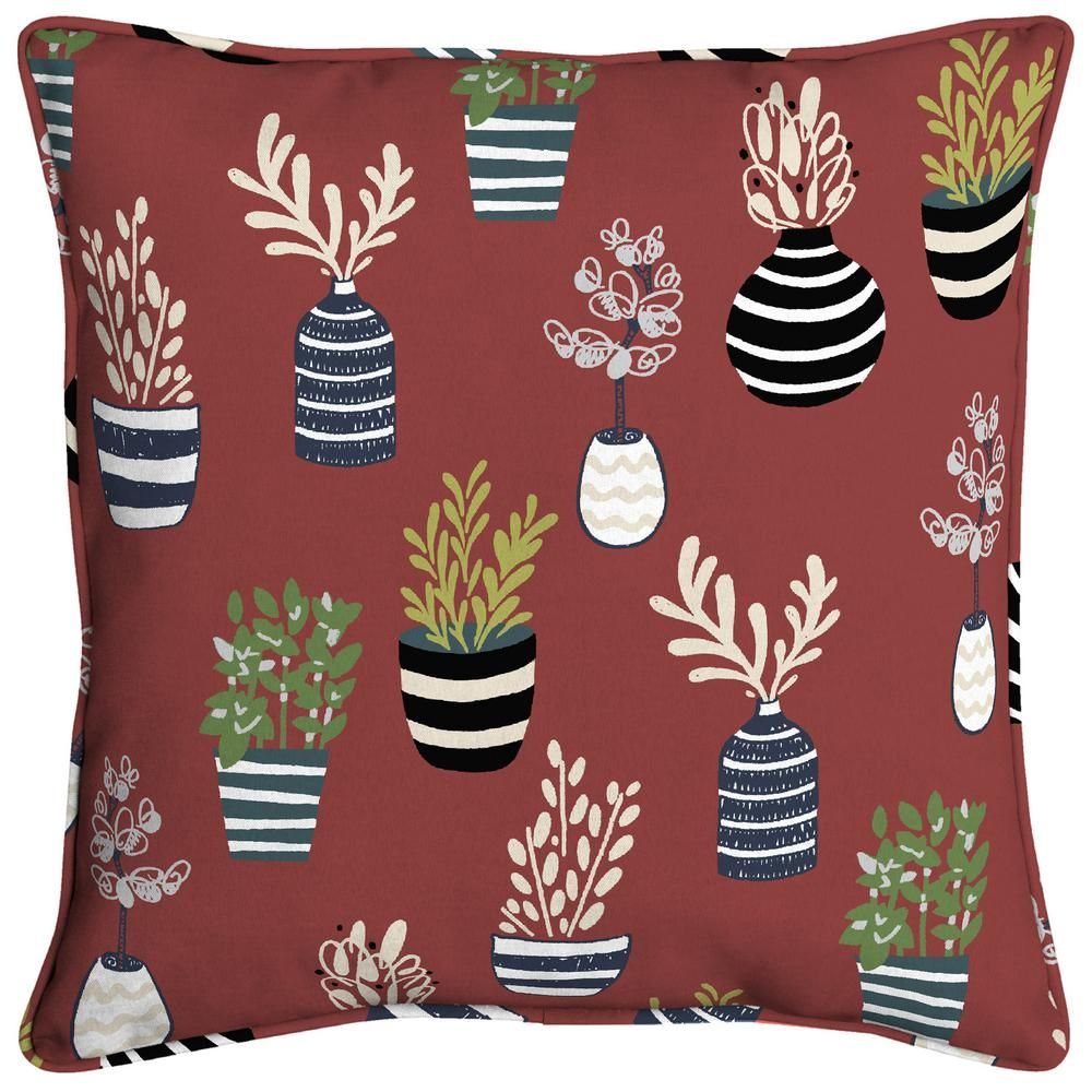 Hampton Bay All Over Succulents Welted Outdoor Throw Pillow Tk1u574b 9d4 The Home Depot Outdoor Throw Pillows Throw Pillows Hampton Bay