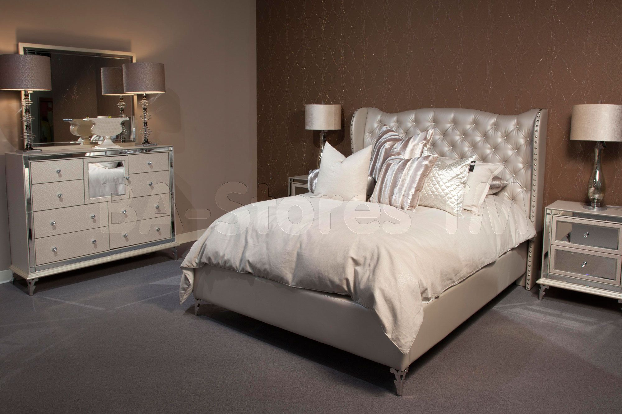 Hollywood Loft Frost 5 Pc Bedroom Set By Michael Amini Silver