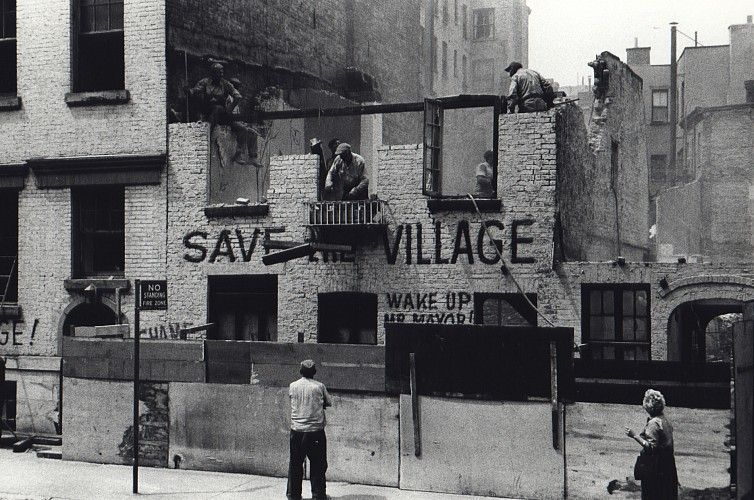 Fred W McDarrah: Save the Village at Steven Kasher Gallery. Fred W. McDarrah, Demolition of Artist's Studio, Greenwich Avenue, May 19, 1960, Vintage gelatin silver, printed ca. 1970.