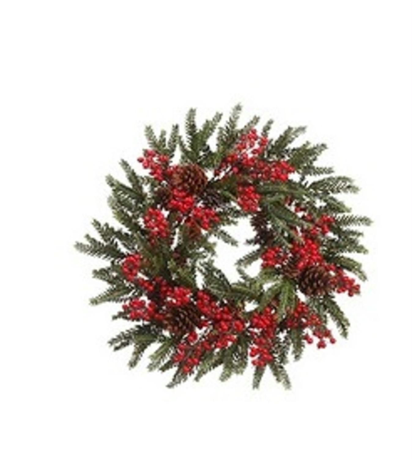 22 Red Berry And Pine Cone Artificial Christmas Wreath