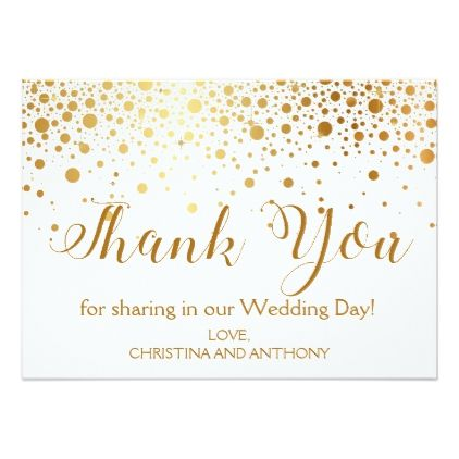 Confetti Gold Foil Wedding Thank You Note Card  Glitter Glamour