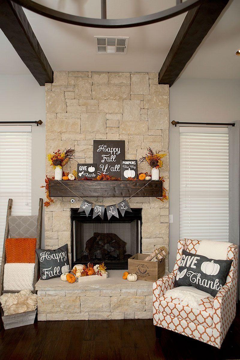 38 Fall Mantel Ideas for Living Room Decor images