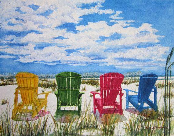 Beach Adirondack Chair Art Print Painting By BarbaraRosenzweig, $52.00
