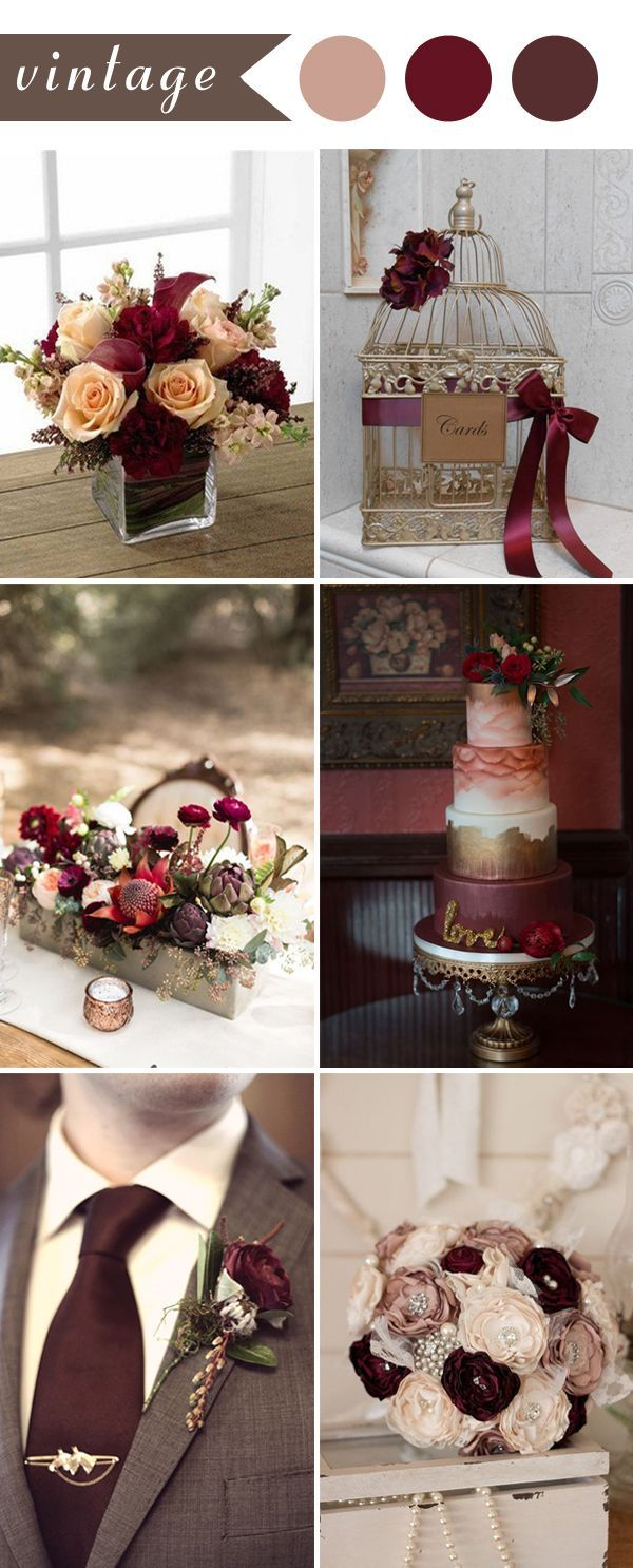 Perfect burgundy wedding themes ideas for 2017 burgundy for Vintage theme ideas