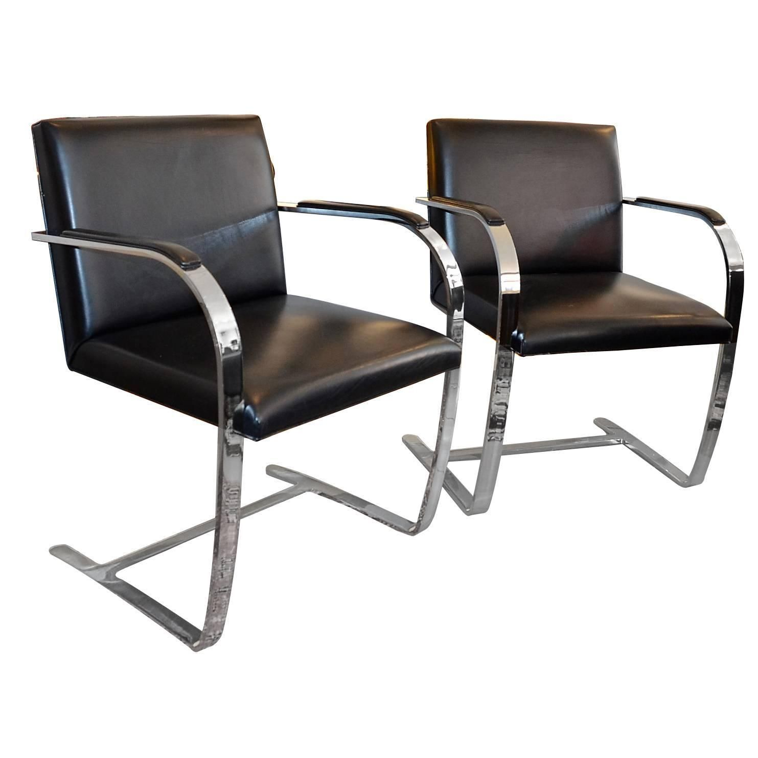 Set of Two Armchairs Brno by Ludwig Mies van der Rohe for Knoll International | From a unique collection of antique and modern armchairs at https://www.1stdibs.com/furniture/seating/armchairs/