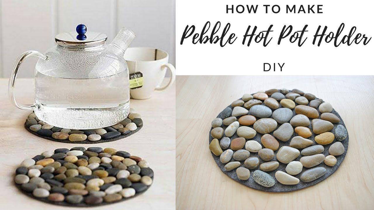 Diy How To Make Pebble Hot Pot Holder Stone Mat Easy Tutorial Rock Crafts Diy Diy River Rock River Rock Decor