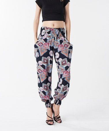 Take a look at this Izabel: Black Jewel Harem Trousers by Izabel on #zulily today!