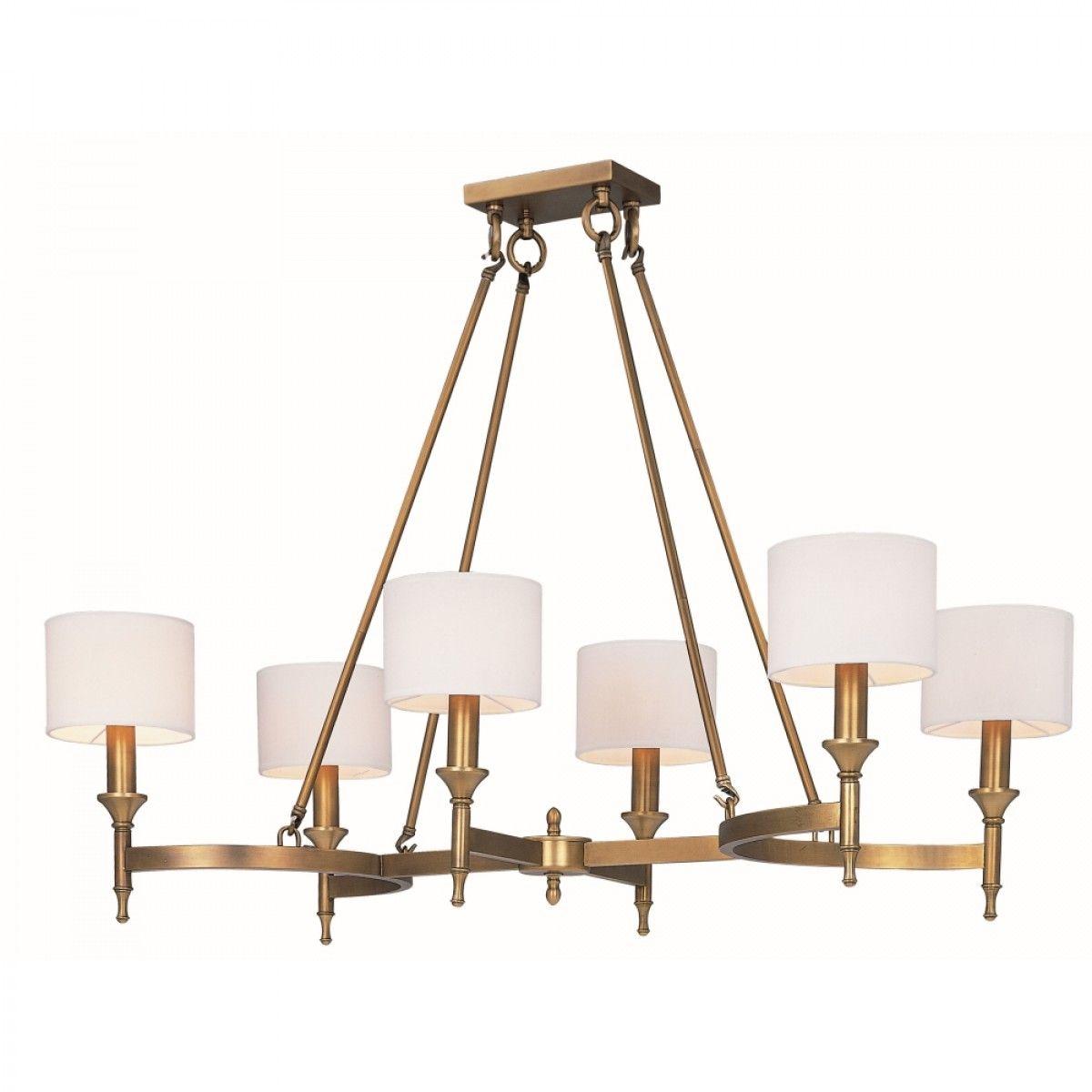 Fairmont 6 light 41 natural aged brass linear chandelier with fairmont 6 light 41 natural aged brass linear chandelier with fabric shades arubaitofo Images