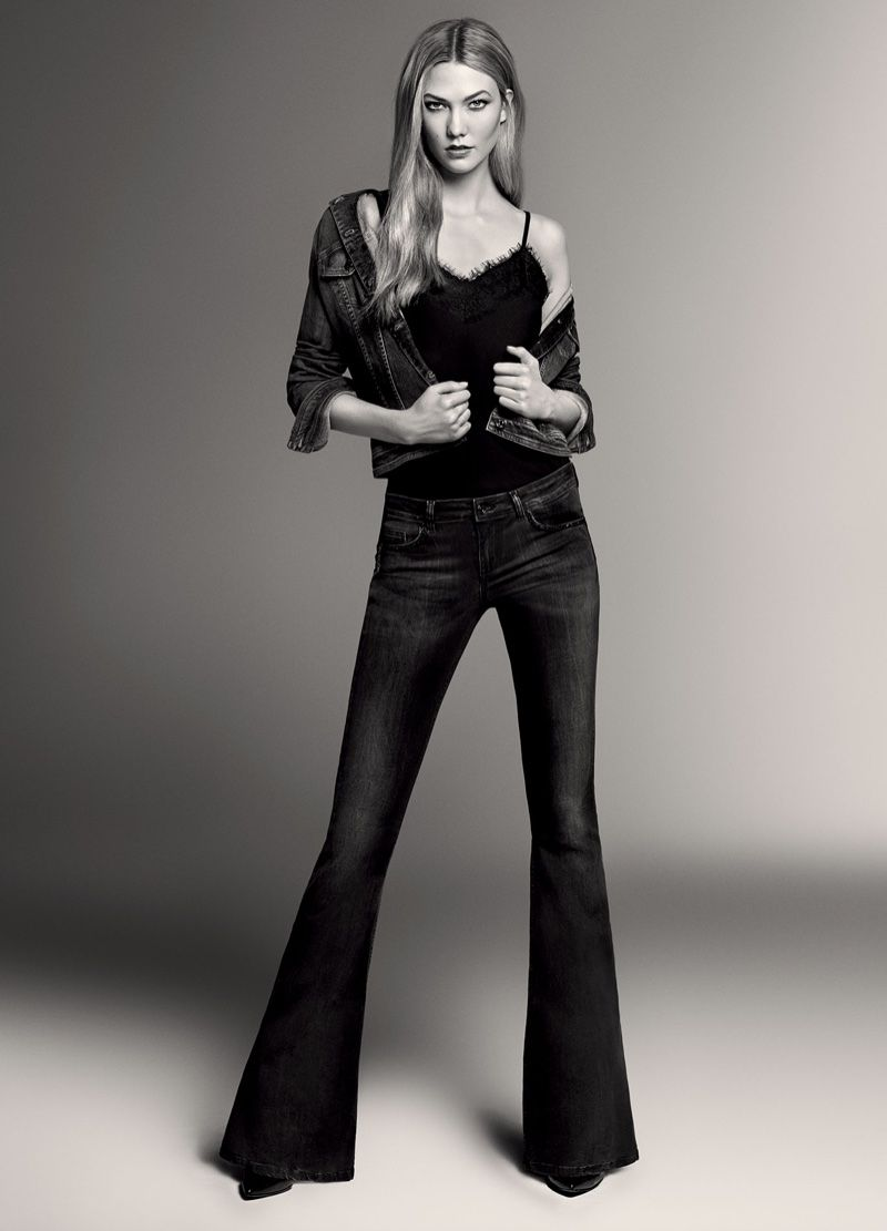 a5d11243518 ... fall-winter 2016 Blue Denim catalog. Karlie Kloss poses in camisole  top, denim jacket and flared jeans from Liu Jo
