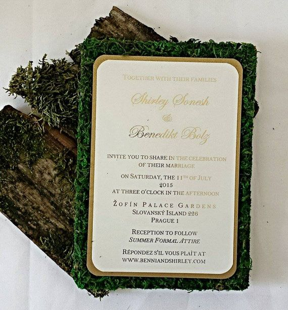 Outdoor Wedding Invitation Wording: Garden Themed Moss Wedding