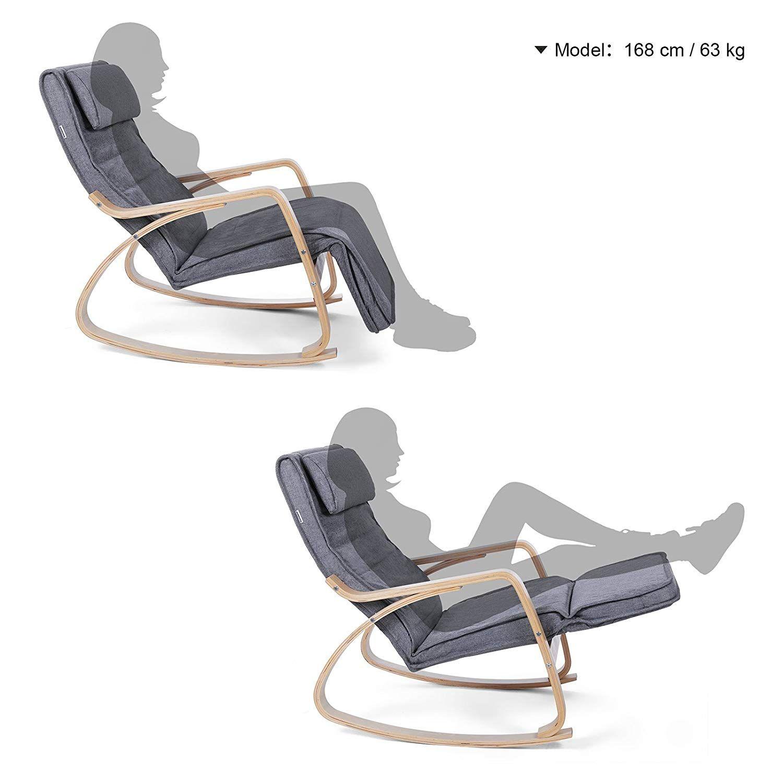 Maison Songmics Rocking Chair Fauteuil A Bascule Avec Repose Pied