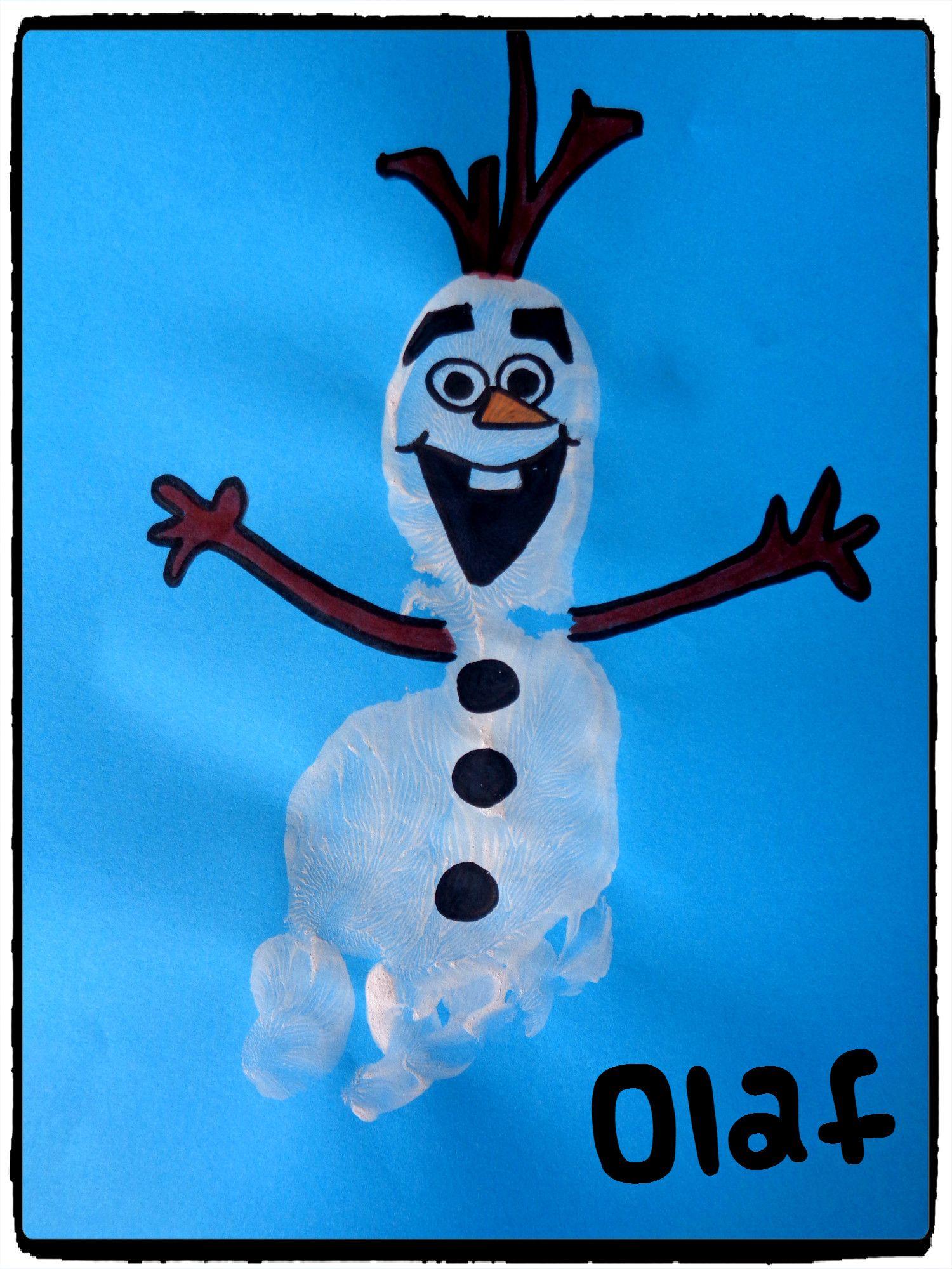 Olaf en empreinte de pied     Peinture empreinte main, Carte noël