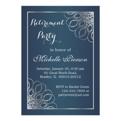 Silver swirls on midnight blue Retirement Party Card Party gifts - retirement party card