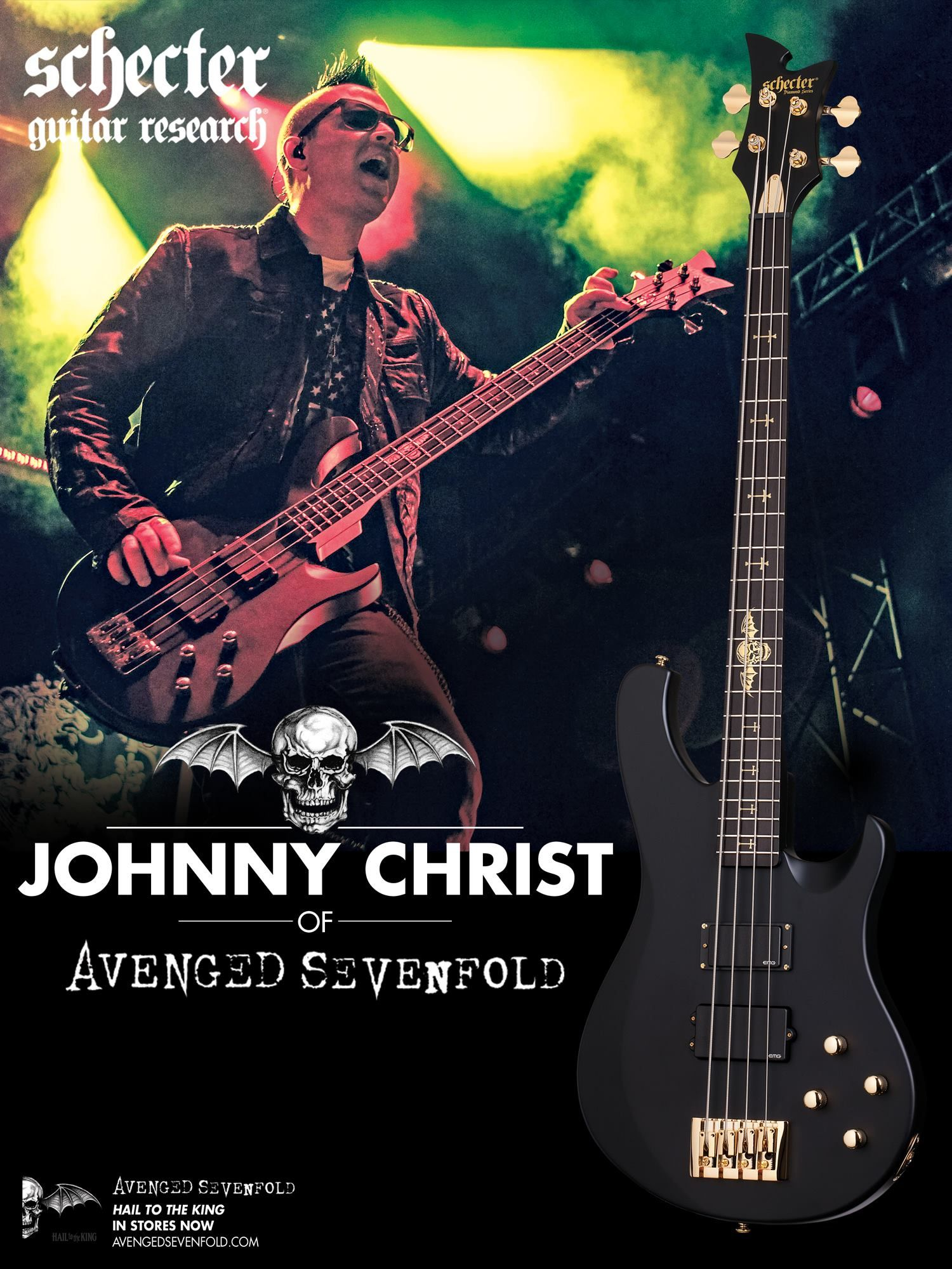 Anuncio Del Bajo Schecter De Johnny Christ En Bass Player De