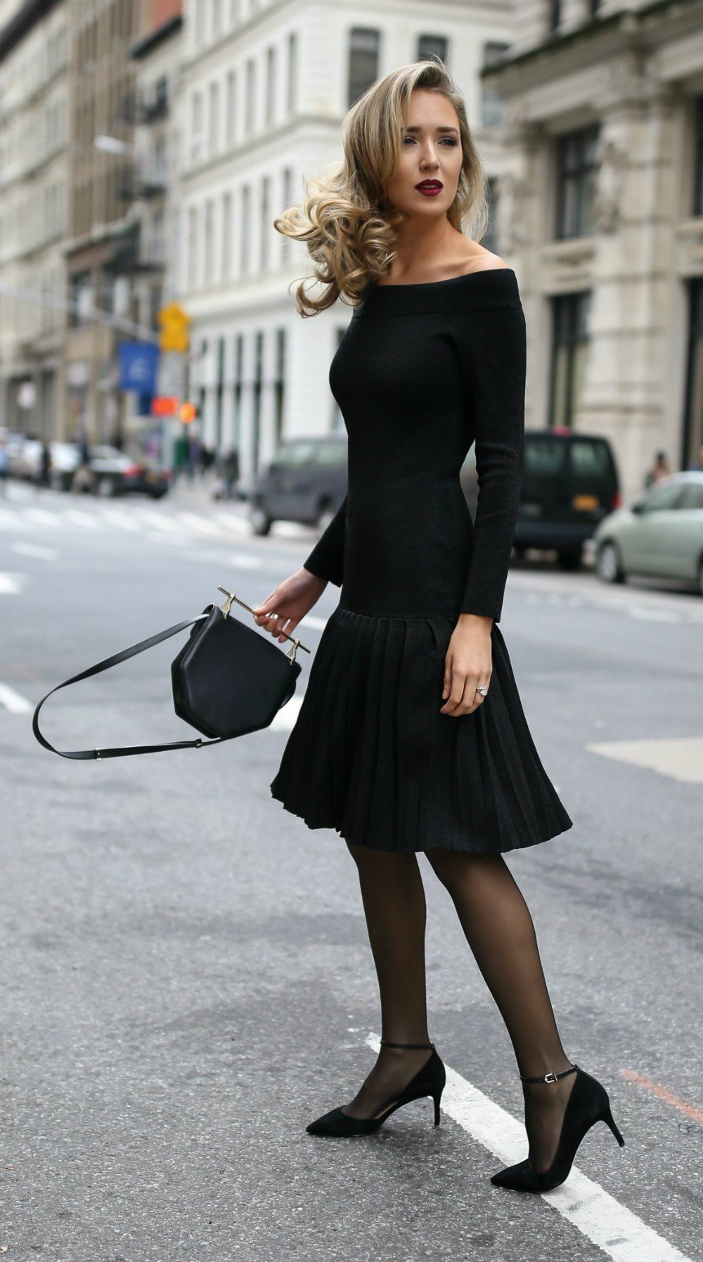 30 Dresses In 30 Days Engagement Party Black Off The Shoulder Pleated Knit Sparkle Dress Black Suede Ankle Strap Sheer Black Tights Fashion Tight Dresses [ 1796 x 1000 Pixel ]