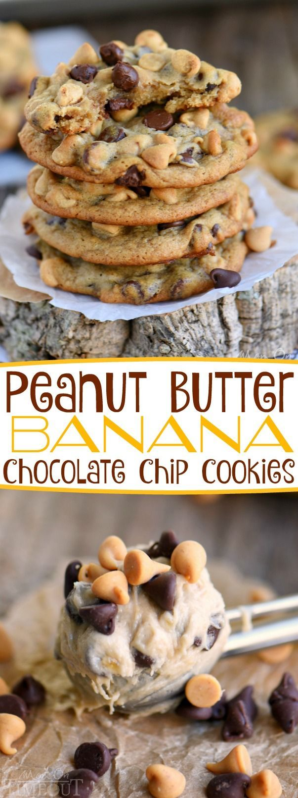 Got ripe bananas? These easy Peanut Butter Banana Chocolate Chip Cookies are WAY more fun than making banana bread and so delicious too! Super soft and absolutely amazing! // Mom On Timeout #peanutbutter #banana #chocolate #chocolatechip #cookies #recipe #dessert #noeggs #eggless