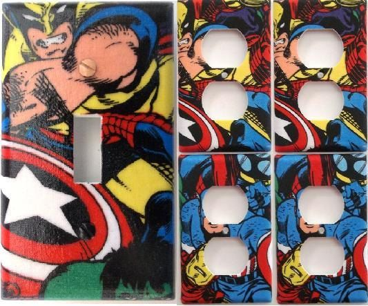 Comics Heroes iron-man Light Switch Outlet Toggle Wall Cover Plate Home decor
