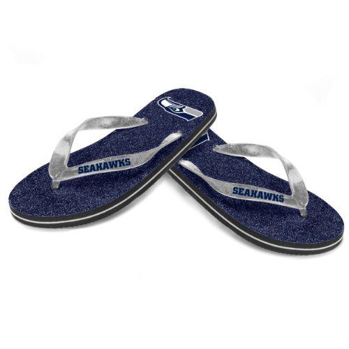 e13b635d0701cc Seattle Seahawks Womens NFL Football Team Logo Glitter Thong Flip Flop  Sandals