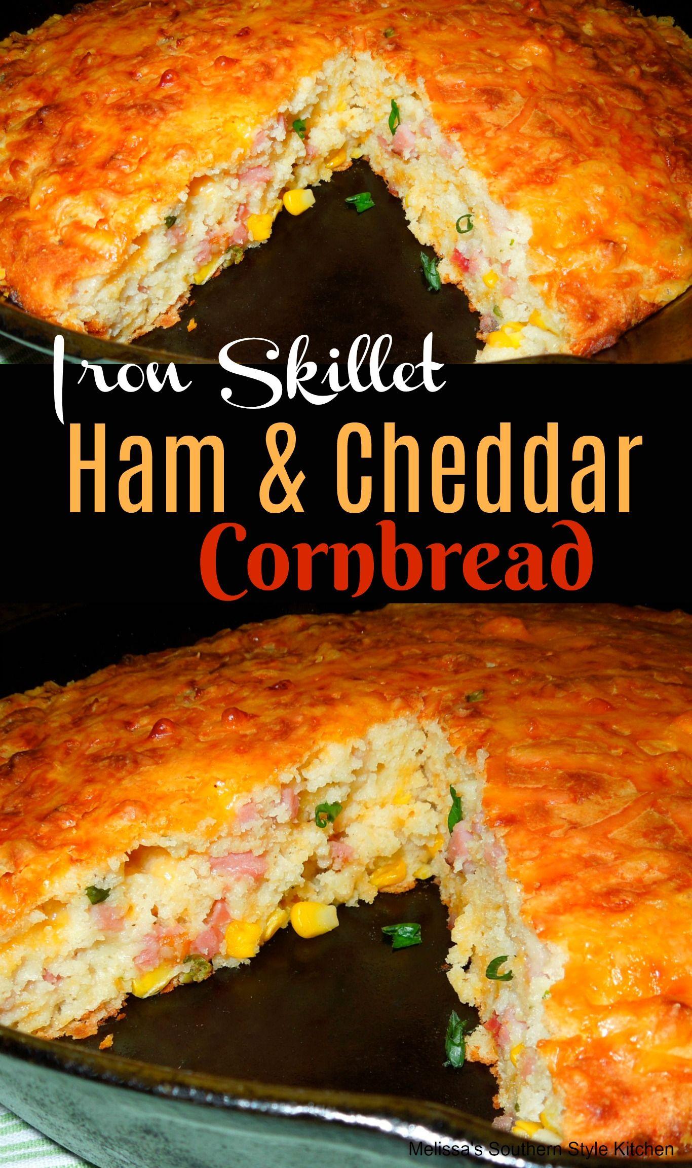 Iron Skillet Ham And Cheddar Cornbread #recipes #ham #cornbread #castironcooking #Southern #baking #foodie #cheddar #hamandcheese #leftoverham #skilletmeals #bread #mexicancornbreadcasserole