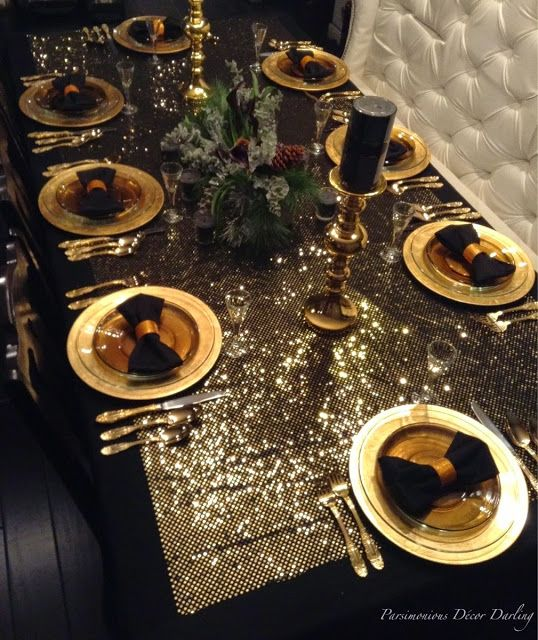 A Gilded Golden New Year S Eve Tablescape Idea Glittery Gold And Black Bow T New Years Eve Decorations Christmas Table Decorations Gold Christmas Decorations