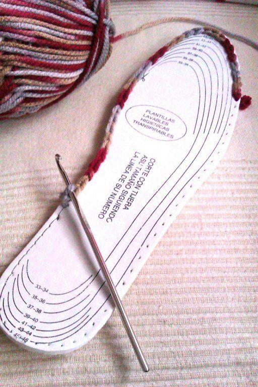 Cómo hacer unas pantuflas tejidas a mano | Es facil, Ganchillo y ...