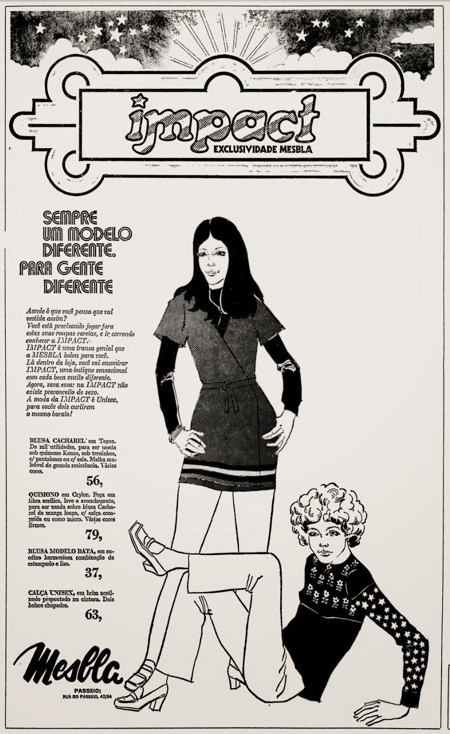 Anúncio moda Impact - 1972