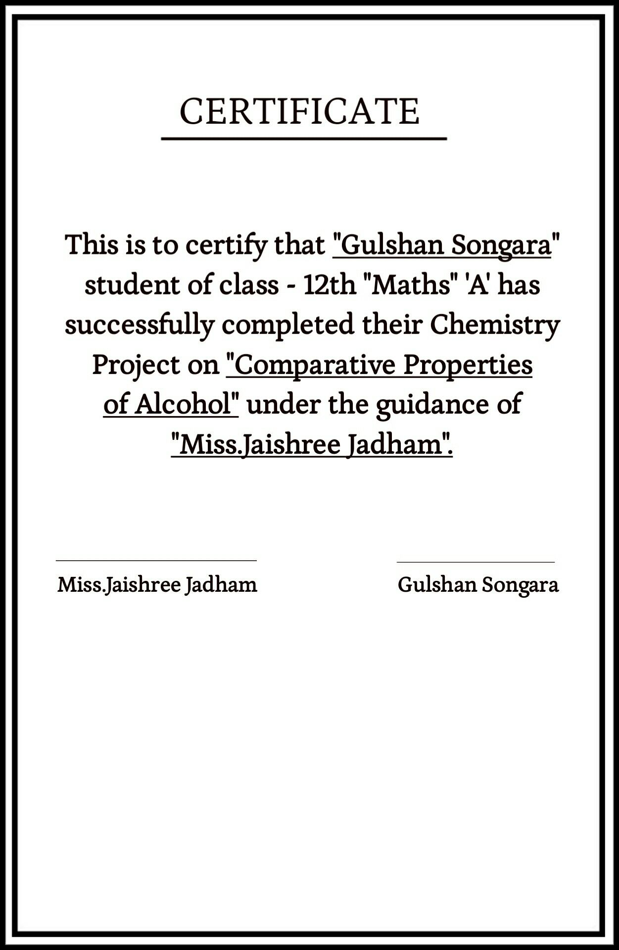 how to make a certificate for school project