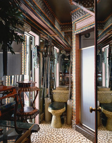 Tony Duquette S Bathroom With It S Leopard Skin Toilet Which He