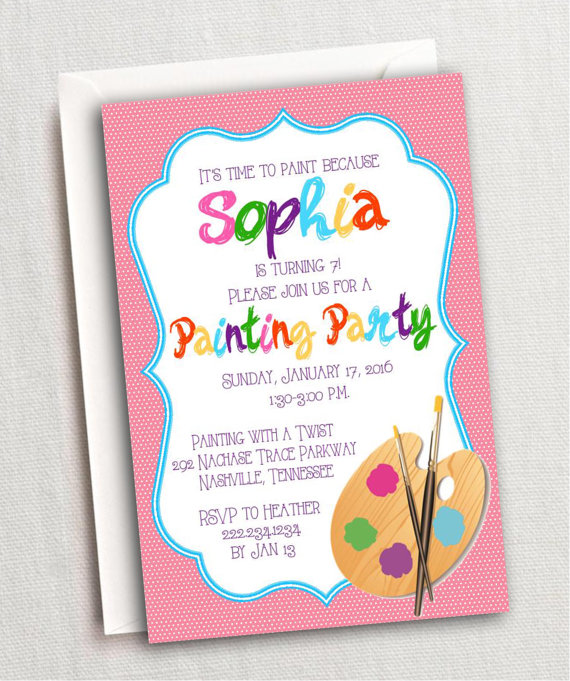 Painting Party Invitation Art With A Twist Invite Kids