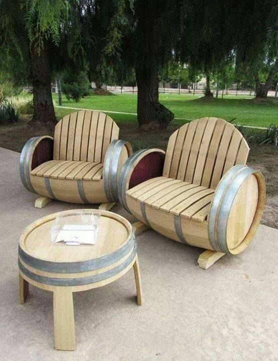 Old Beer Barrels   Turned Into Garden Chairs U0026 Table