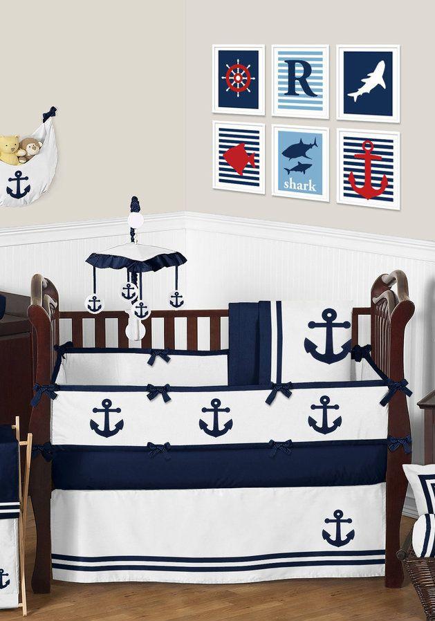Anchors Away Nautical Baby Bedding 9 Piece Crib Set