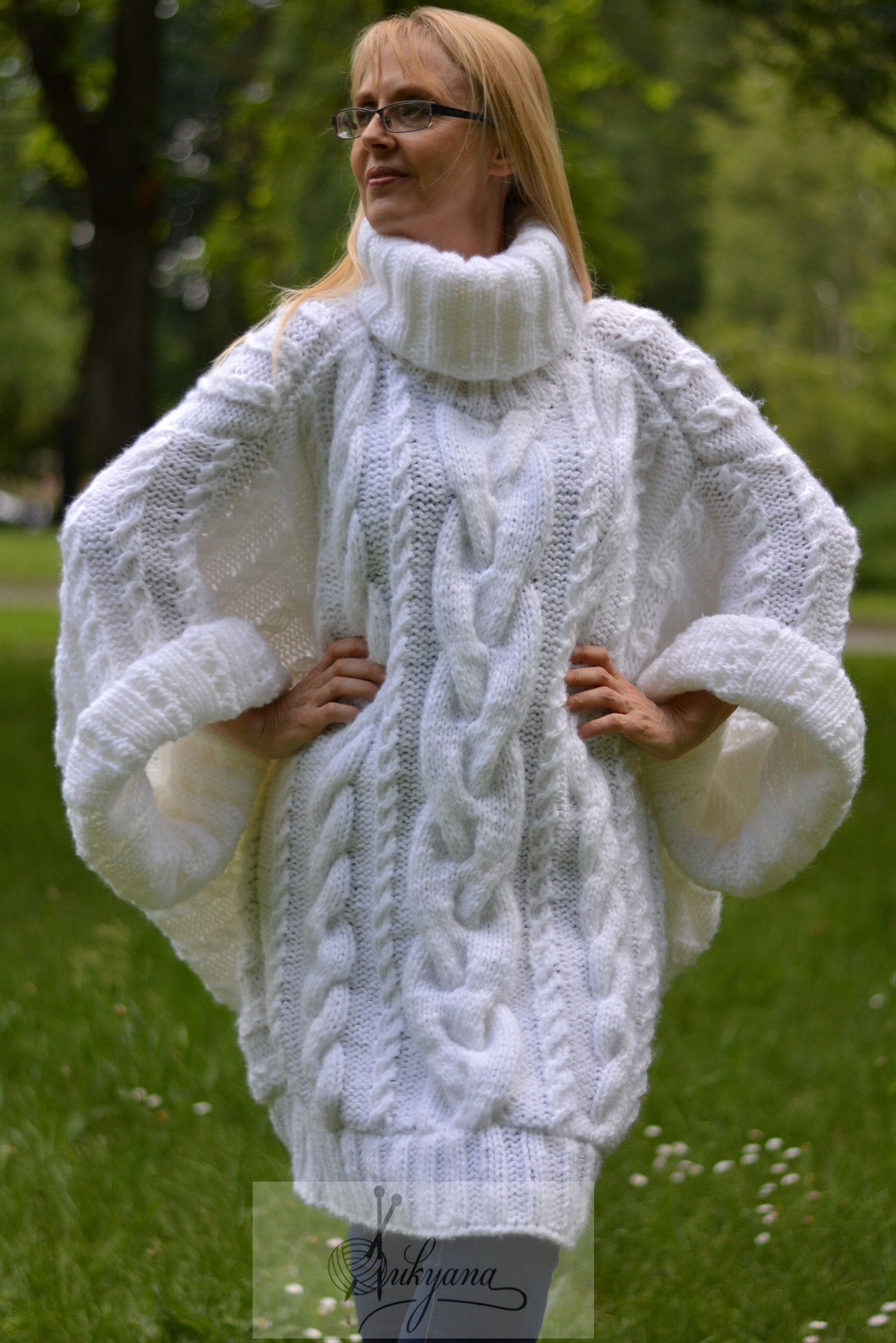Knitted sweater boho jumper batwing pullover cabled sweater