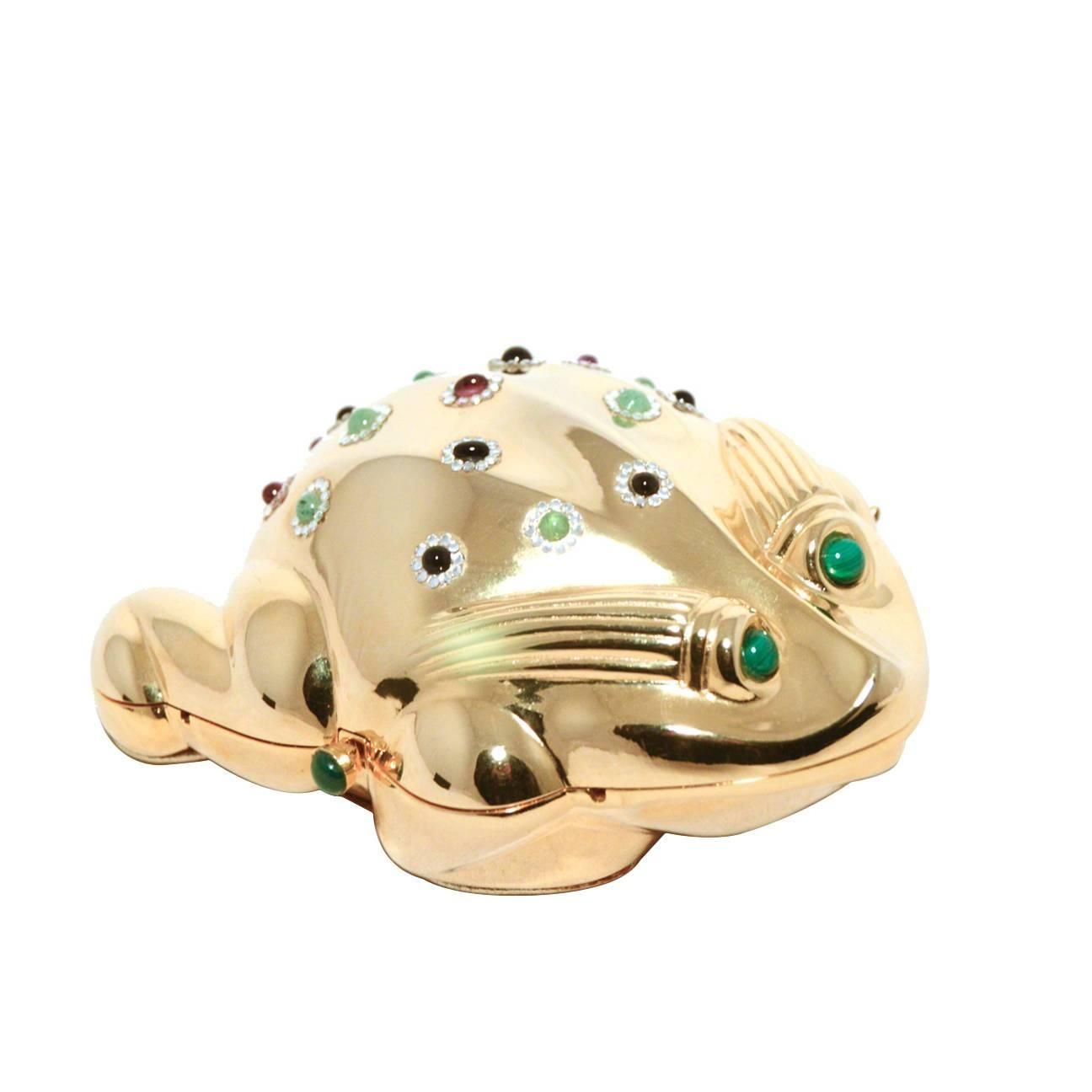 Judith Leiber Gold Frog Minaudiere | From a collection of rare vintage evening bags and minaudières at https://www.1stdibs.com/fashion/handbags-purses-bags/evening-bags-minaudieres/