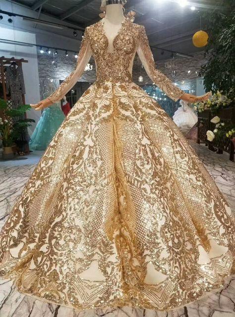 Gold Ball Gown Bling Bling V-neck Long Sleeve Wedding Dress -   19 dress Quinceanera gold ideas