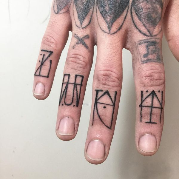 e477f36c20966 Tribal Runes Tattoos on Four Fingers Finger Tattoo Designs, Finger Tattoos, Hand  Tattoos,