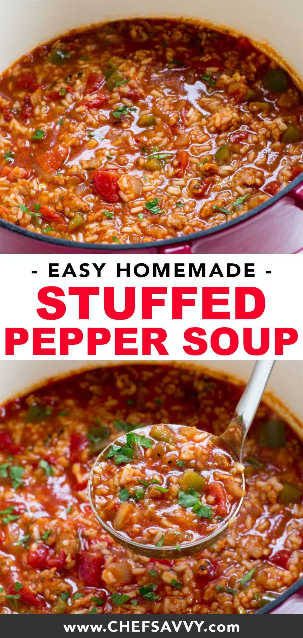 Easy Stuffed Pepper Soup Recipe One Pot Chef Savvy Recipe Dinner Recipes Crockpot Stuffed Peppers Easy Stuffed Peppers