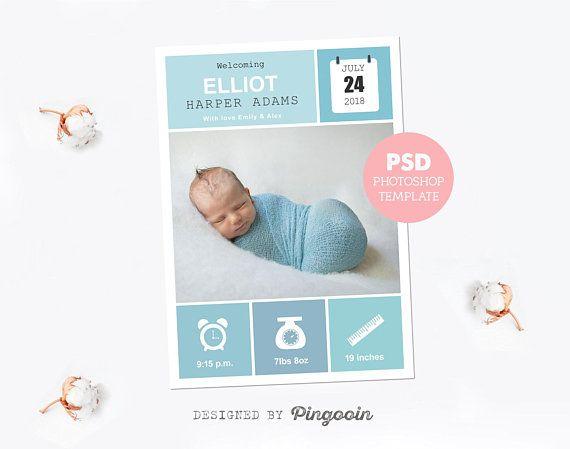 birth announcement custom newborn card baby boy card newborn
