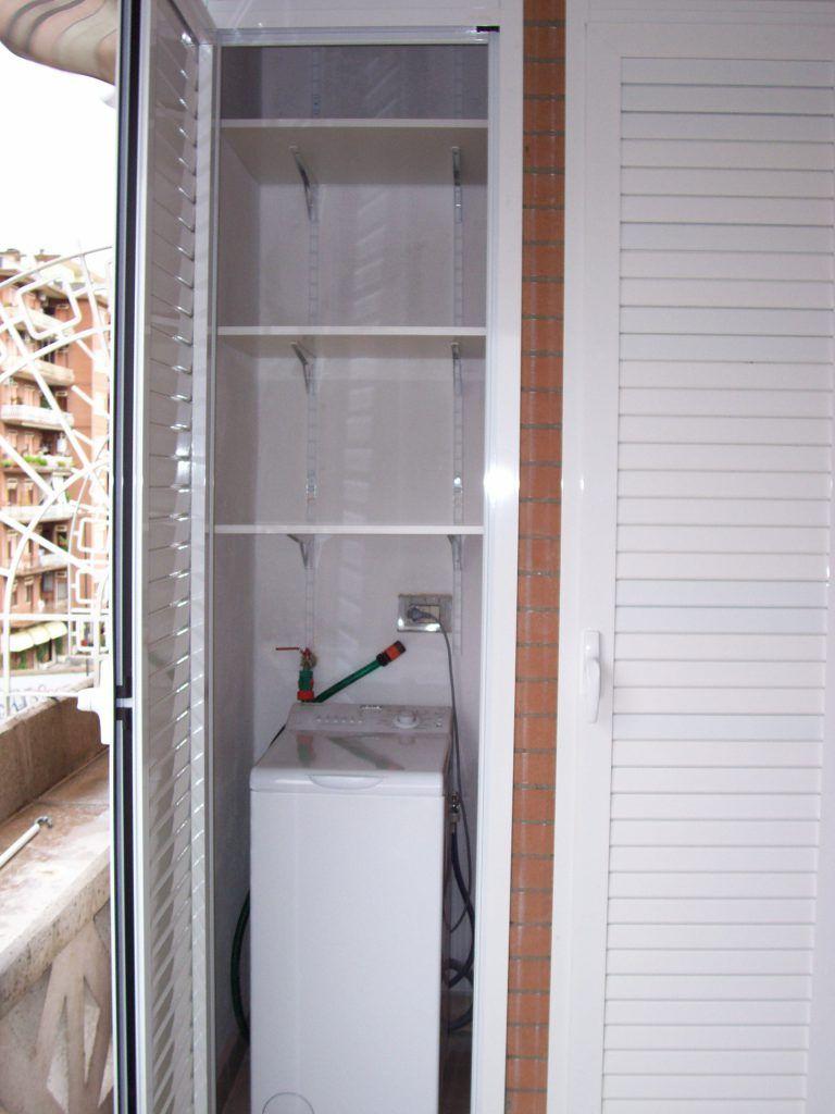 Mobile Per Asciugatrice Esterno armadio per esterni in alluminio bianco aperto | villa in