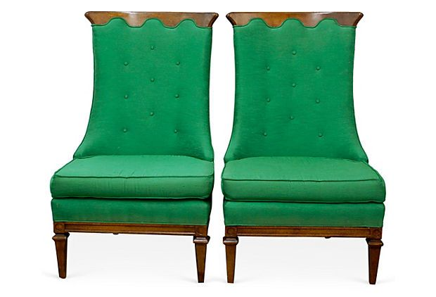 High Back Slipper Chairs, Pair OKL. Green Silk Duping. $1895.00 82514