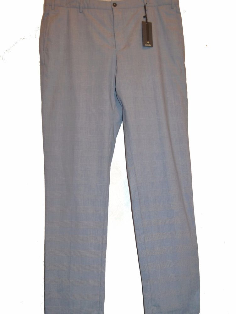 Zanella Light Blue Plaids Cotton Men's Casual Italy Pants Size 40 NEW  #Zanella #CasualPants