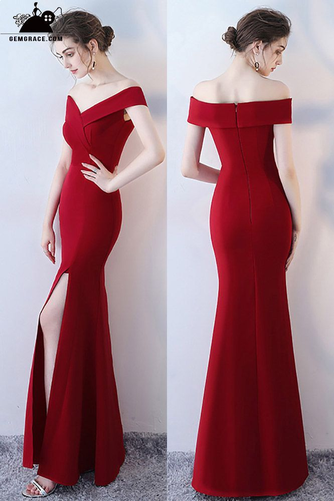 c106b51a Only $86, Prom Dresses Burgundy Side Slit Mermaid Formal Dress Off Shoulder  #HTX86048 at GemGrace. View more special Special Occasion Dresses,Prom  Dresses ...