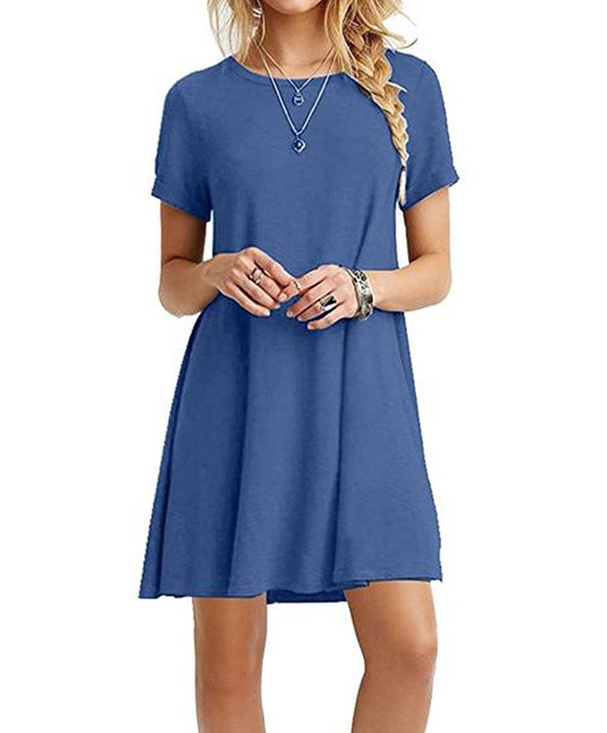 Cool great womens casual tshirt dress short sleeve plus size loose