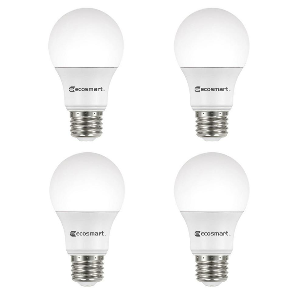 Ecosmart 100 Watt Equivalent A19 Non Dimmable Led Light Bulb Daylight 4 Pack A7a19a100wul03 The Home Depot In 2020 Dimmable Led Lights White Light Bulbs Light Bulb